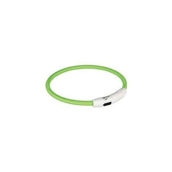 Trixie 12702 Világító nyakörv gyűrű USB-ről tölthető, green L-XL