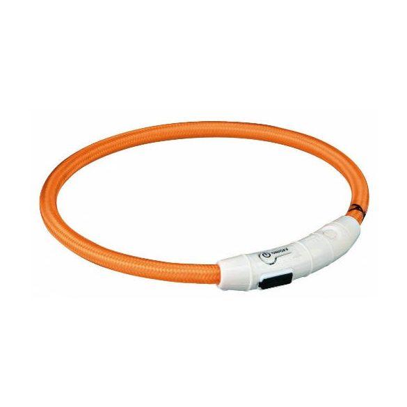 Trixie 12705 Világító nyakörv gyűrű USB-ről tölthető, narancs L-XL
