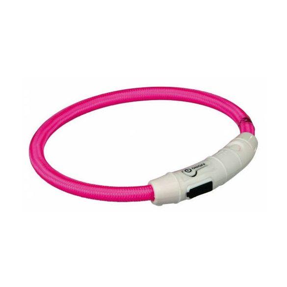 Trixie 12708 Világító nyakörv gyűrű USB-ről tölthető, pink L-XL