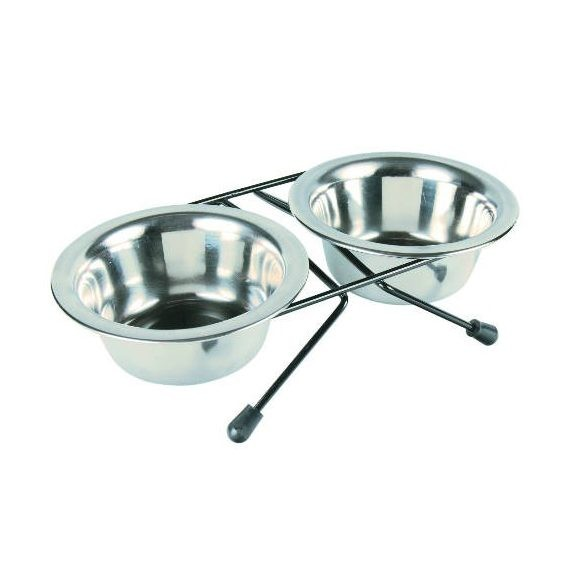 Trixie 24830 Eat on Feet állványos acél tál szett (2 db) 0,2L