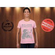 Bulldog Streetwear Női Póló - Rózsaszín M Méret - BSW Est.2014. angol bulldog mintával