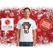 Bulldogos Karácsonyi Férfi Póló - Bulldog Streetwear Frenchie Merry Christmas mintával