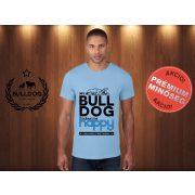 Bulldog Streetwear Férfi Póló - Világoskék L Méret - My Bulldog Makes Me Happy francia bulldog mintával