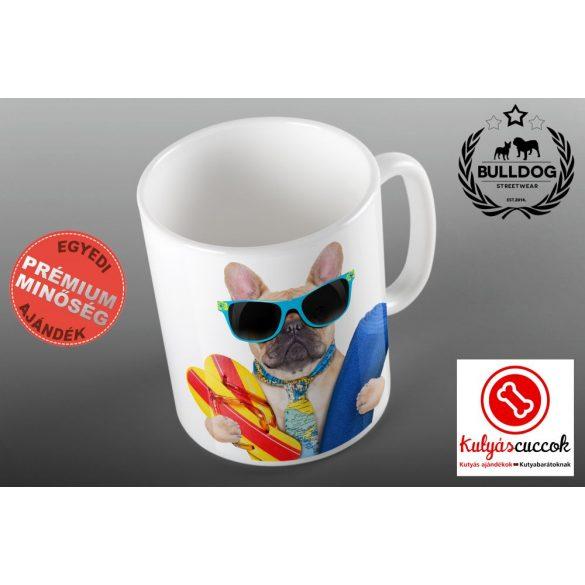 Bulldogos Bögre - Bulldog Beach  francia bulldog grafikával
