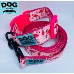 Dog Walking Apparel flamingó nyakörv és póráz szett