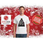 Kutyás Karácsonyi Férfi Póló - Merry Christmas Merry Woofmas fekete mintával