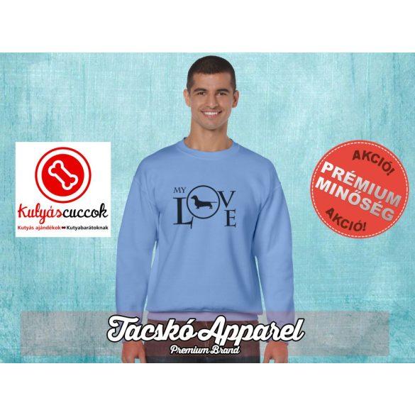 Tacskós Férfi környakas pulóver - Tacskó My Love mintával Több színben