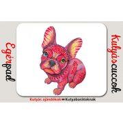 Bulldogos Egérpad - Bulldog Art piros grafikával