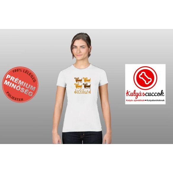 Tacskós Női Póló - Tacskó Barna Tacsis mintával