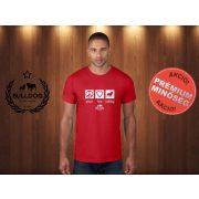 Bulldog Streetwear Férfi Póló - Peace, Love, Bulldog mintával Szín: Piros