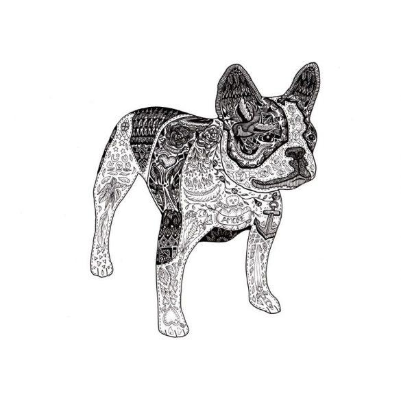 Bulldogos Bögre - Bulldog Art Fekete-fehér francia bulldog grafikával