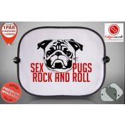 Mopszos Autós Napellenző Napvédő -  Mopsz Sex Pugs Rock and roll mintával