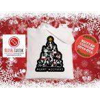 Kutyás Karácsonyi vászontáska Merry Christmas Merry Woofmas fekete