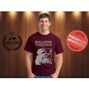Bulldog Streetwear Férfi Póló - Bordóvörös XL Méret - BSW Est.2014. angol bulldog mintával