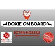 Autós Matrica Tacskós - Tacskó Doxie On Board - Extra Hosszú Minta  80x7cm