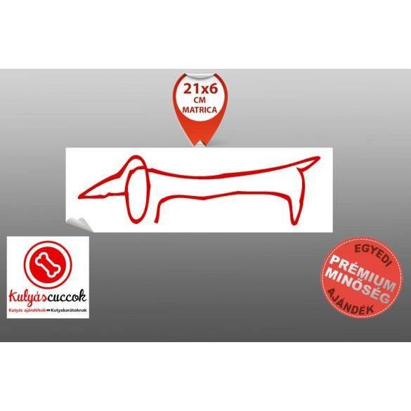 Autós Matrica Tacskós - Tacskó  Picasso nyomán piros Minta  21x6cm