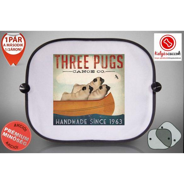 Mopszos Autós Napellenző Napvédő -  Mopsz Three Pugs mintával