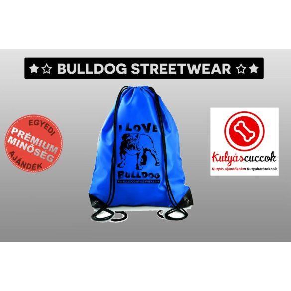 Tornazsák színes- Bulldog Streetwear I Love Bulldog angol bulldogos mintával