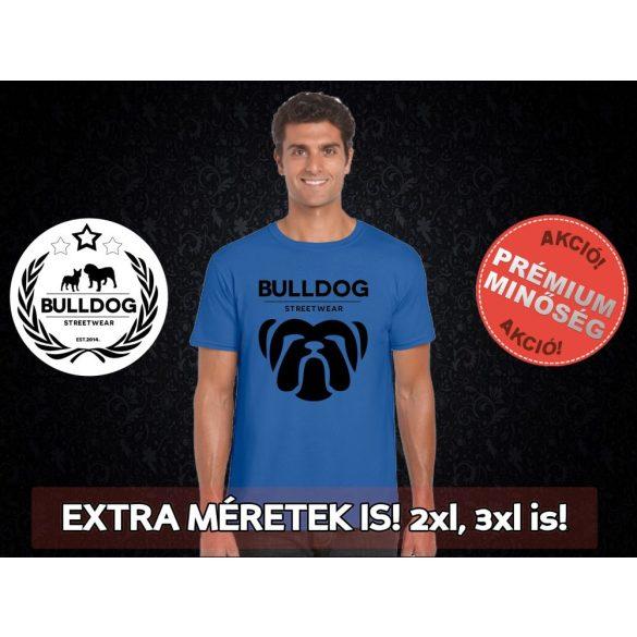 Bulldog Streetwear Férfi Póló - Big Bull mintával Extra méretben is! 2XL, 3XL is! Szín: Neon Blue