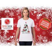 Kutyás Karácsonyi Női Póló - Merry Christmas Merry Woofmas mintával