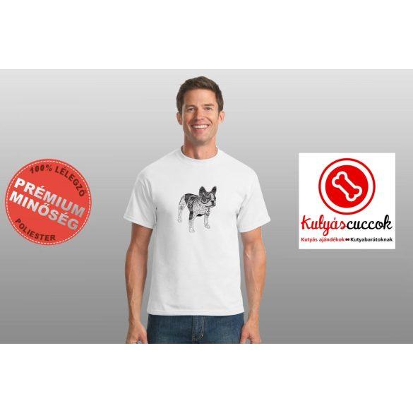 Bulldogos Férfi Póló - BulldogArt fekete-fehér  mintával