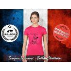 Bulldog Streetwear Női Póló - Bonjour la France mintával Szín: Pink