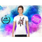 Bulldogos Női Póló - Bulldog Streetwear French BulldogArt Francia bulldog Red Glass mintával