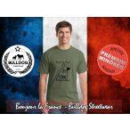 Bulldog Streetwear Férfi Póló - Bonjour la France mintával  Szín: Heather Military Green
