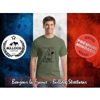 Bulldog Streetwear Férfi Póló - Bonjour la France mintával  Szín: Heather Military Green