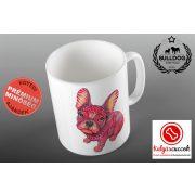 Bulldogos Bögre - Bulldog Art Piros francia bulldog grafikával