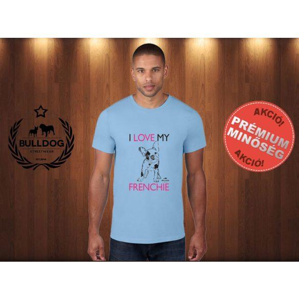 Bulldog Streetwear Férfi Póló - I Love My Frenchie mintával Szín: Világoskék