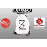 Tornazsák - Bulldog Streetwear I Love Bulldog Francial Bulldog mintával