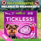 Vegyszermentes ultrahangos kullancs- és bolhariasztó medál kutyáknak és macskáknak, TICKLESS - pink