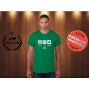 Bulldog Streetwear Férfi Póló - Peace, Love, Bulldog mintával Szín: Zöld