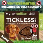 Vegyszermentes ultrahangos kullancs- és bolhariasztó medál kutyáknak és macskáknak, TICKLESS - barna