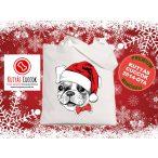 Bulldogos Karácsonyi vászontáska SantaFrenchie