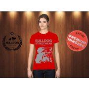 Bulldog Streetwear Női Póló - Piros M Méret - BSW Est.2014. angol bulldog mintával