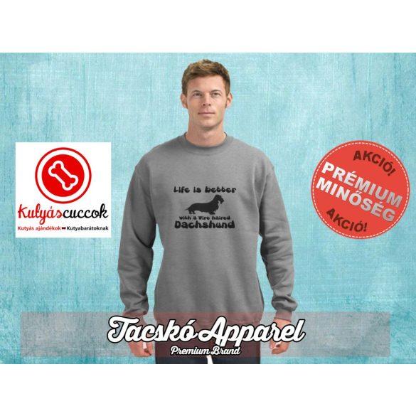 Tacskós Férfi környakas pulóver - Tacskó Life is better... mintával Több színben