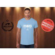 Bulldog Streetwear Férfi Póló - Peace, Love, Bulldog mintával Szín: Világoskék