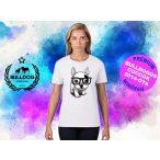 Bulldogos Női Póló - Bulldog Streetwear French BulldogArt Francia bulldog Black Glass mintával