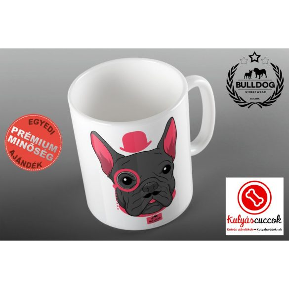 Bulldogos Bögre - Rózsaszín kalapos francia bulldog grafikával