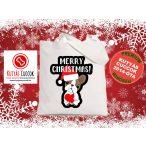 Bulldogos Karácsonyi vászontáska Frenchie Merry Christmas