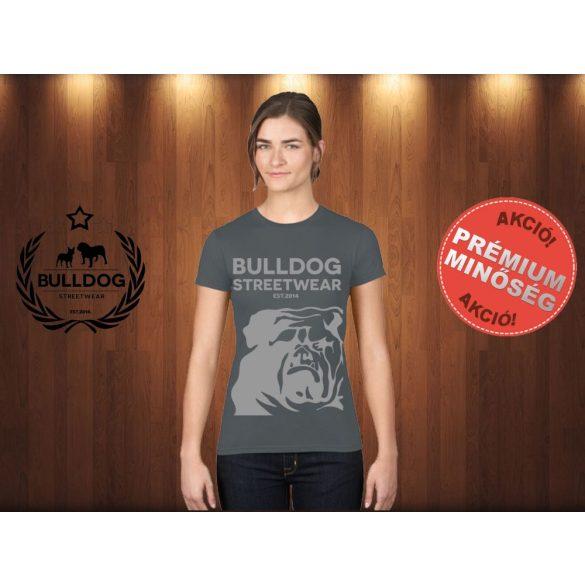Bulldog Streetwear Női Póló - Sötétszürke L Méret - BSW Est.2014. angol bulldog mintával