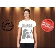 Bulldog Streetwear Női Póló - Fehér L Méret - BSW Est.2014. angol bulldog mintával
