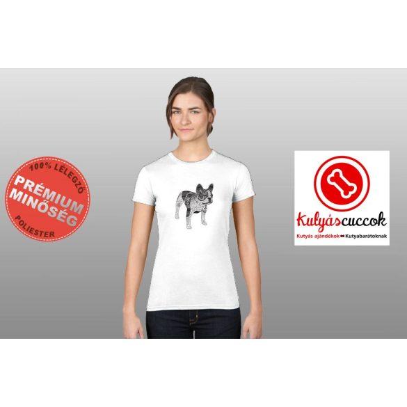 Bulldogos Női Póló - BulldogArt fekete-fehér mintával