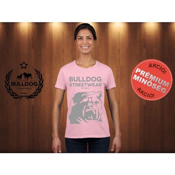 Bulldog Streetwear Női Póló - Rózsaszín XL Méret - BSW Est.2014. angol bulldog mintával