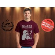 Bulldog Streetwear Férfi Póló - Bordóvörös M Méret - BSW Est.2014. angol bulldog mintával