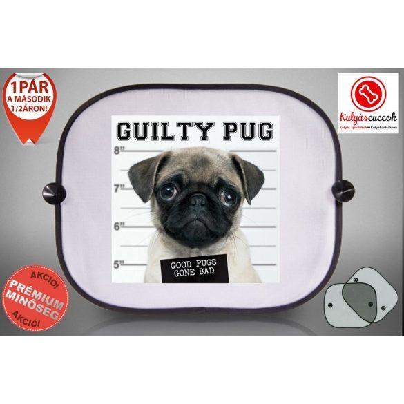 Mopszos Autós Napellenző Napvédő -  Mopsz Guilty Pug mintával