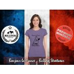 Bulldog Streetwear Női Póló - Bonjour la France mintával Szín: Heather Purple