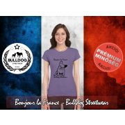 Bulldog Streetwear Női Póló - Bonjour la France mintával Szín: Heather Purple